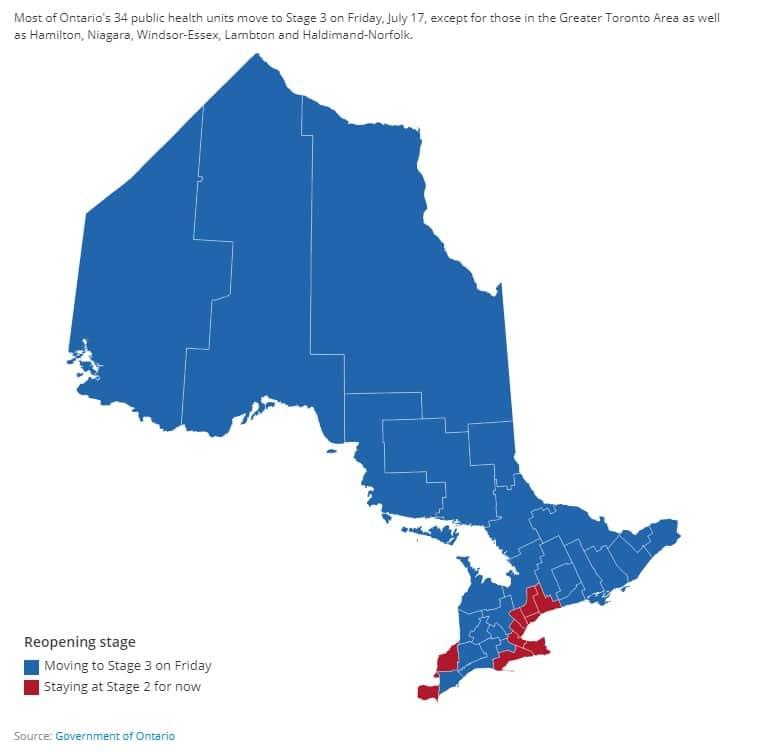 دخول أونتاريو المرحلة الثالثة من إعادة الفتح