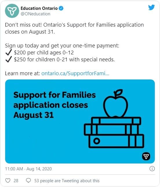 طريقة تقديم طلب دعم الأسر فى أونتاريو و الحصول عليه