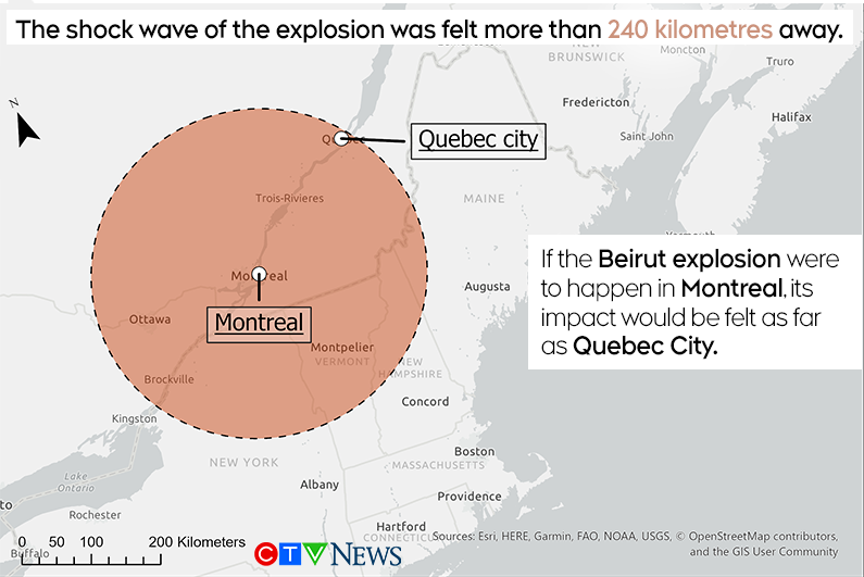 كيف سيبدو إنفجار بيروت إذا حدث داخل المدن الكندية