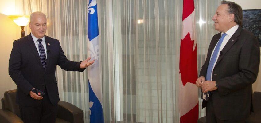 إجتماع رئيس حكومة كيبيك فرانسوا ليجولت مع إيرين أوتول زعيم حزب المحافظين