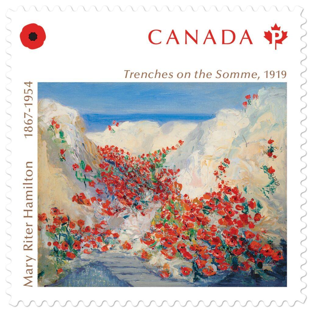 إحتفال بريد كندا بأول فنانة في ساحة المعركة في البلاد