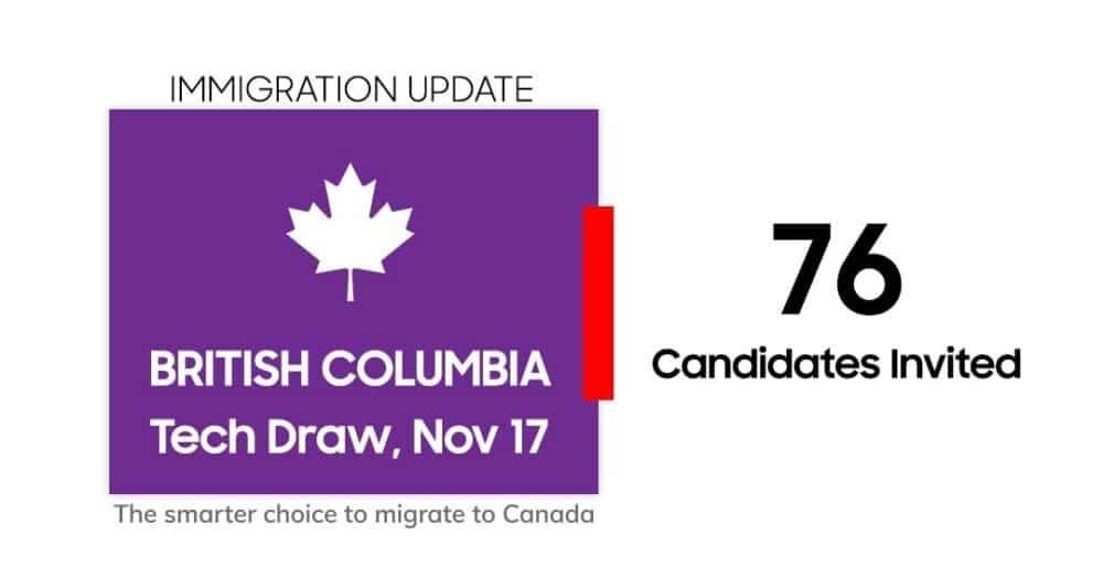 إصدار 76 دعوة للإقامة الدائمة فى كولومبيا البريطانية عن طريق Tech Pilot