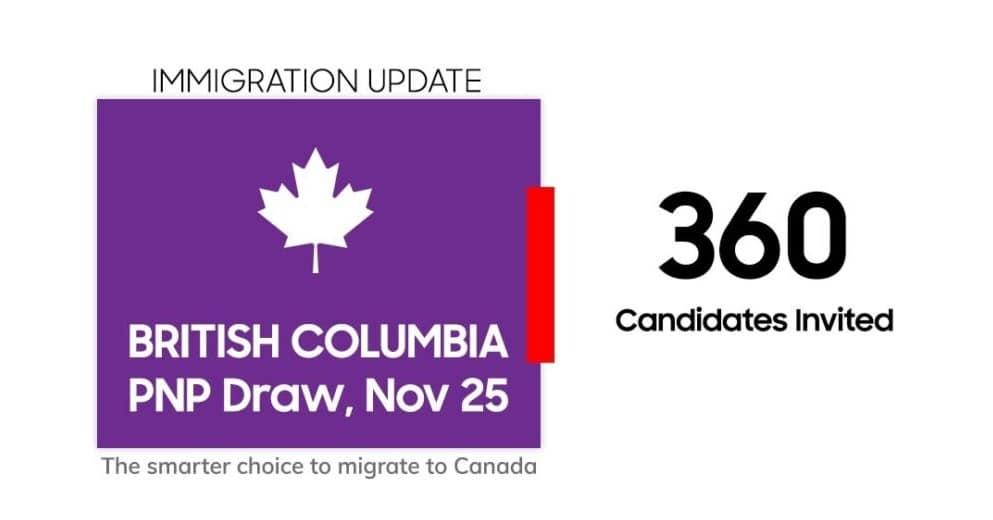 دعوة 360 مهاجر فى كولومبيا البريطانية للحصول على الإقامة الدائمة