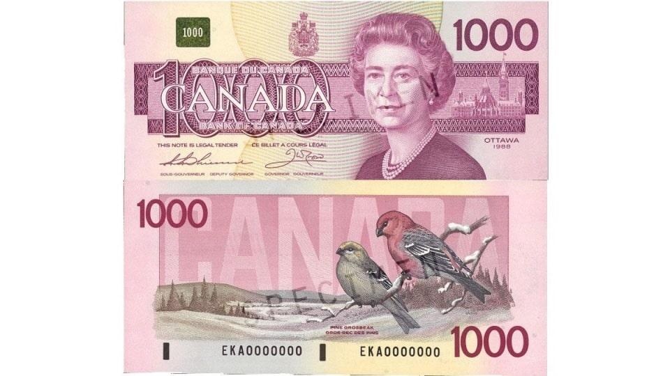عملة ورقية 1000 دولار كندى قديمة