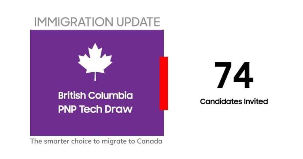 تدعو كولومبيا البريطانية 74 مهاجر فى سحب Tech Pilot