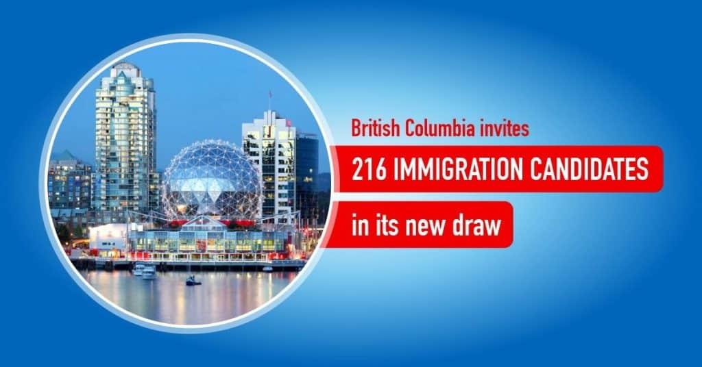 BC PNP  دعوة216 مرشح مهاجر للحصول على الإقامة الدائمة