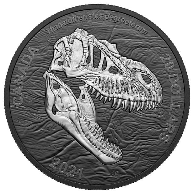 عملة كندية فضية جديدة تعرض ديناصور مخيف اكتشف فى كندا